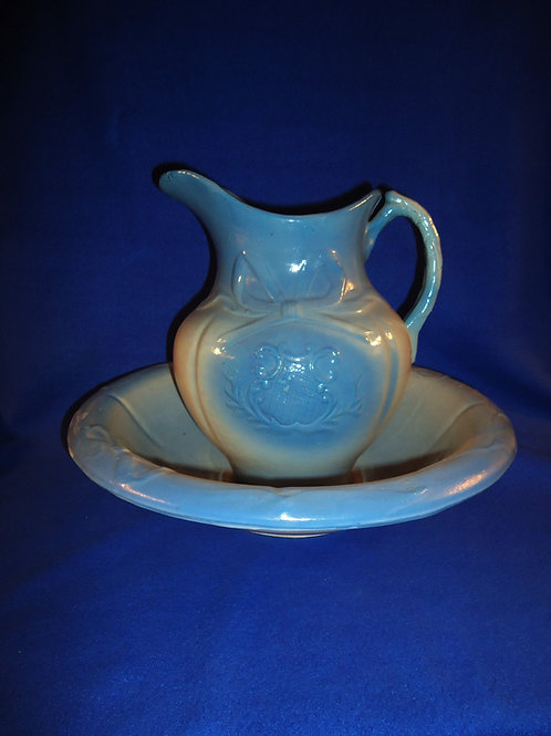 Blue and White Stoneware Pitcher and Bowl, Bowknot Pattern #5782