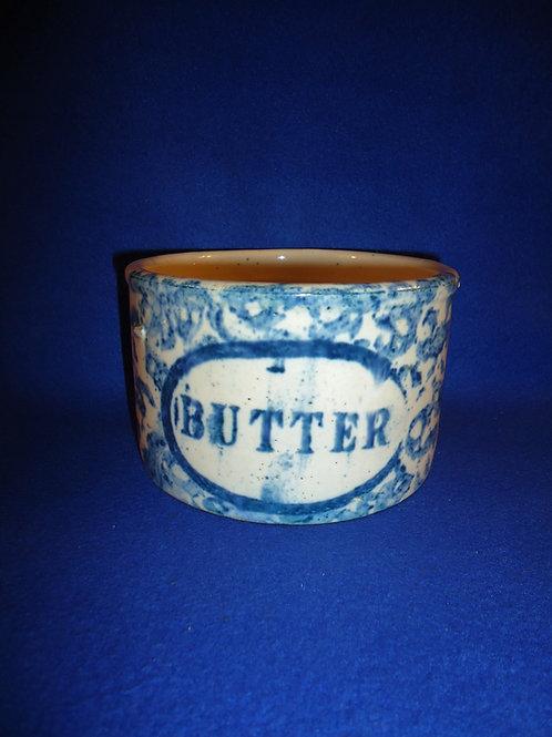 Circa 1900 Blue and White Spongeware Stoneware Butter Crock #5435