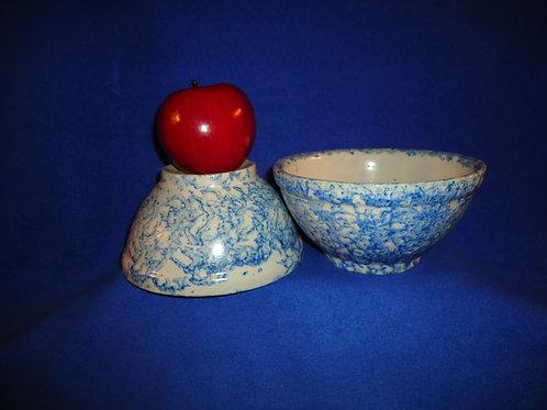 Pair of Small Blue and White Spongeware Stoneware Bowls,#4908