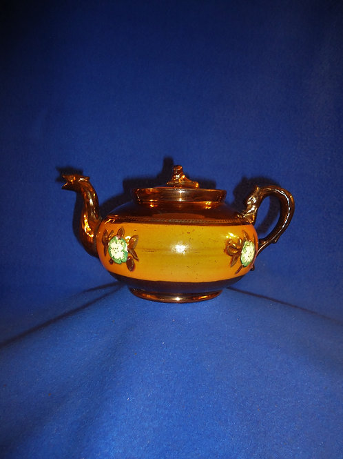 19th Century English Copper Luster Teapot, Orange Band #5263
