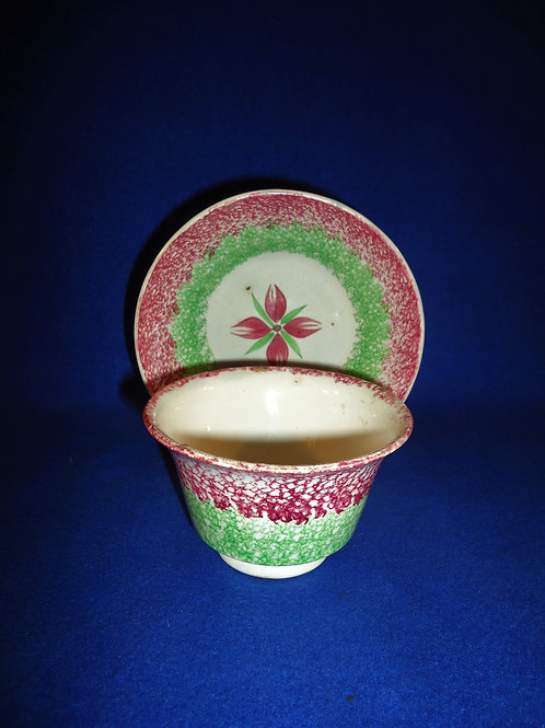 19th Century Rainbow Spatterware Handleless Cup & Saucer, Cluster of Buds #5174