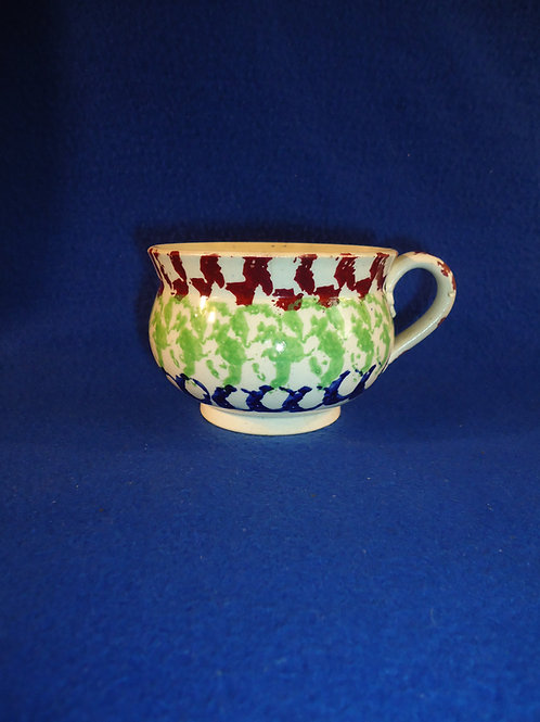 Circa 1830 Staffordshire Spongeware Mug with Rainbow Sponging #4525