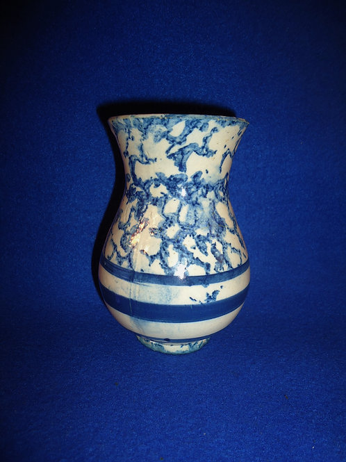 Blue and White Spongeware Stoneware Toothbrush Holder  #4519
