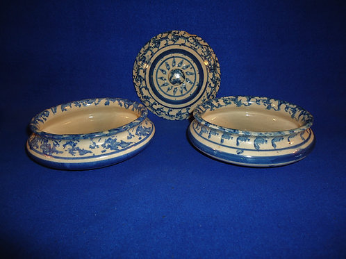 Blue and White Spongeware Soap Dish Bases and Lid, Choice #4981