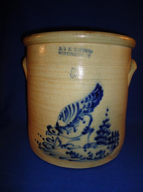 J. & E. Norton 5 Gallon Stoneware Crock with Chicken Pecking Corn #5917
