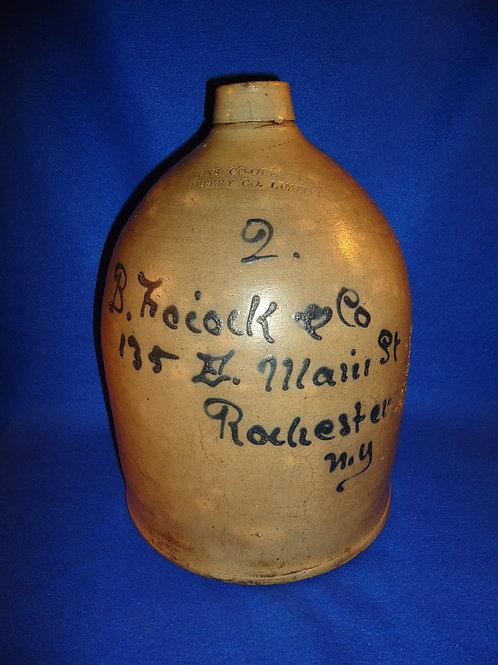 B. Foiock, Rochester, New York 2g Stoneware Script Jug, Lyons Pottery
