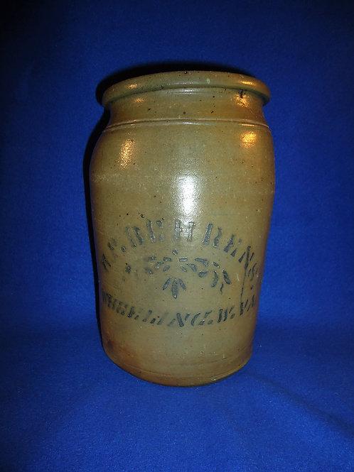 H. F. Behrens, Grocer, Wheeling, West Virginia 1 gallon Stoneware Jar #4484