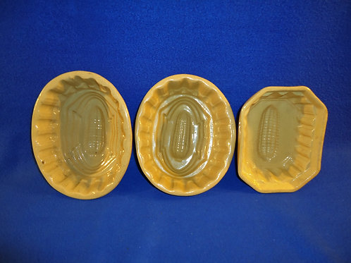 3 Yellow Ware Food Molds, Corn Pattern, for 1 Money #5322