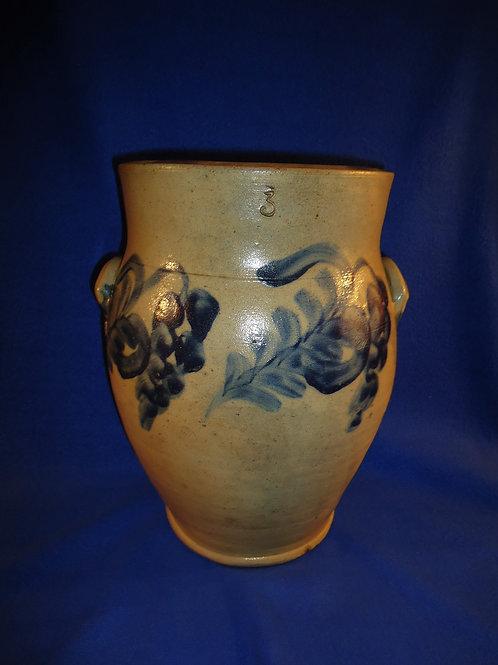 Circa 1860 3 Gallon Ovoid Jar with Grape, att. Remmey of Philadelphia #5302