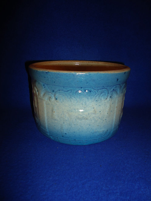 Blue and White Stoneware Harvest Butter Crock, #5520