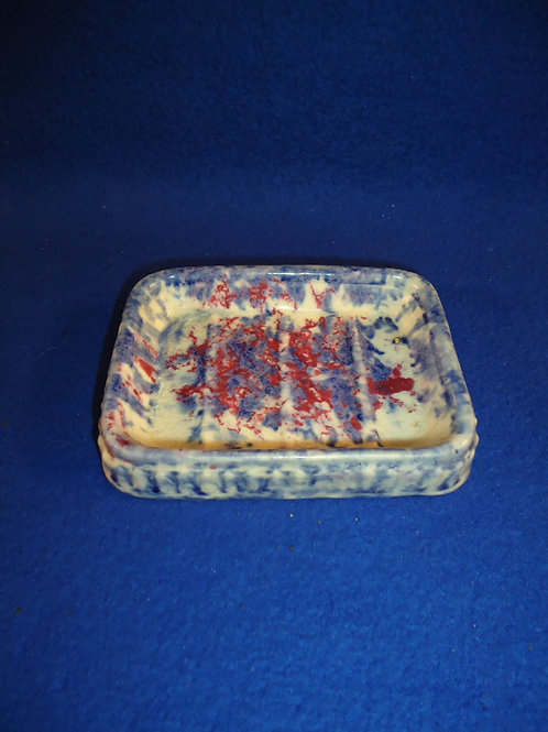 Blue, White, and Red Spongeware Stoneware Soap Dish #5382