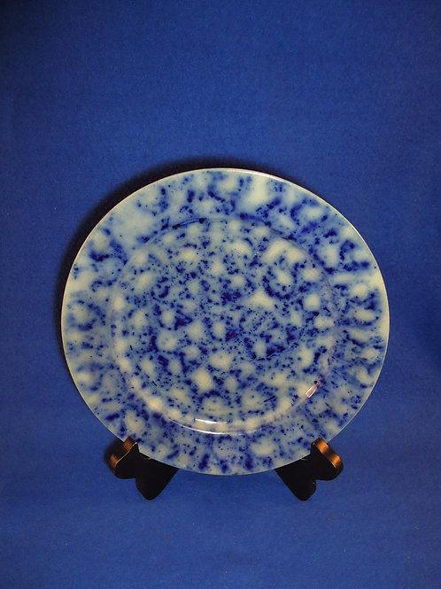 "Late 19th Century Blue and White Spongeware Stoneware 9"" Plate"
