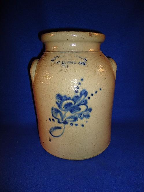 Ottman Bros., Fort Edward, New York Stoneware 2g Preserve Jar with Floral