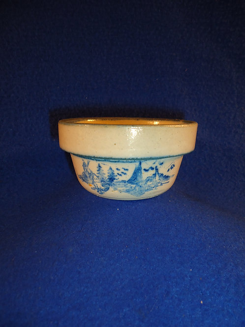 Blue and White Stoneware Toy Bowl with Dutch Scene