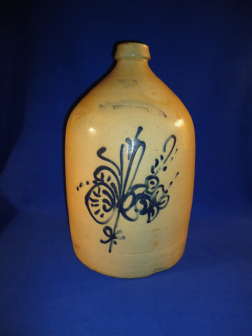 Whites of Utica Stoneware 3 Gallon Jug with Fancy Floral