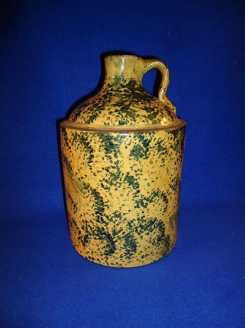 Circa 1900 Yellow Ware Spongeware Jug