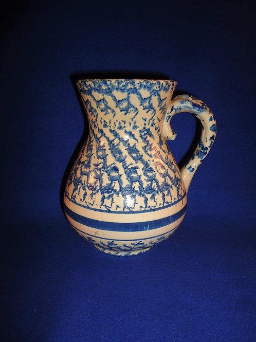 Blue and White Spongeware Stoneware Hot Water Pitcher with Swirl Pattern #4507