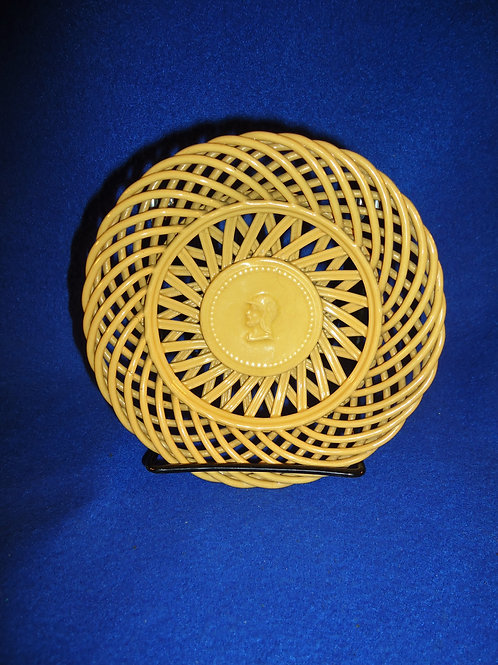 19th Century Yellow Ware Woven Candy Dish with Soldier Cartouche #4480