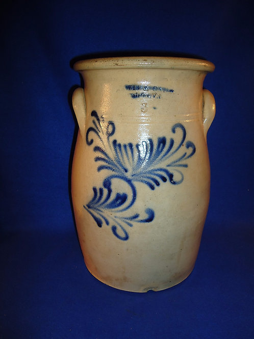 Lewis and Cady, Fairfax, Vermont Stoneware 3 Gallon Churn with Floral