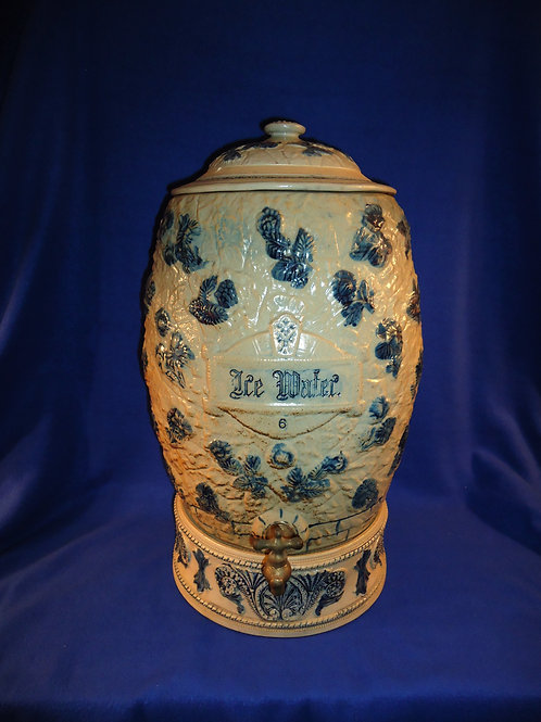 Whites Pottery of Utica, N.Y. Stoneware 6 Gallon Water Cooler w/ Lid and Riser