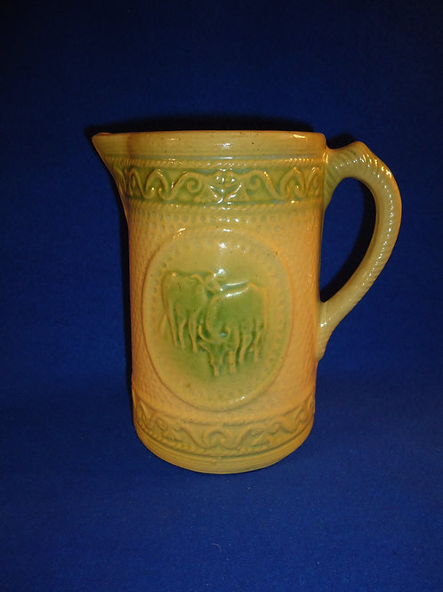 """Yellow Ware Green and Cream 7 1/2"""" Stoneware Grazing Cow Pitcher by Hull"""