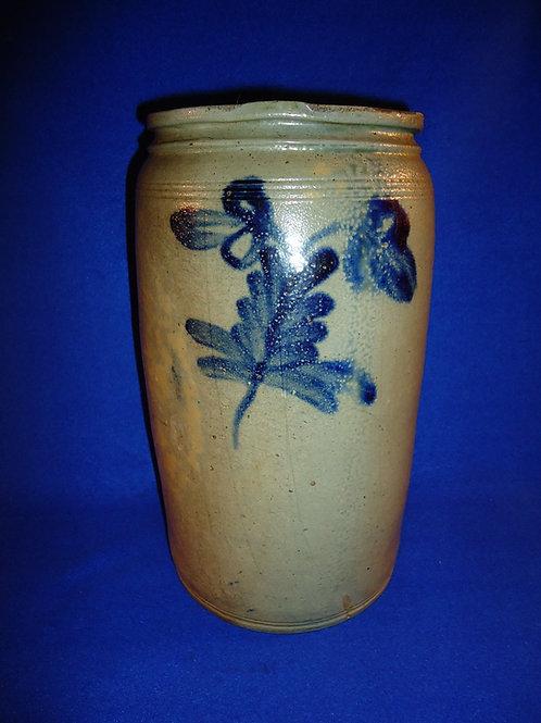 Circa 1860 1 1/2 Gallon Stoneware Jar from Baltimore, Maryland