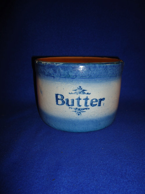 Blue and White Stoneware Butter Crock, Diffused Blue #5151