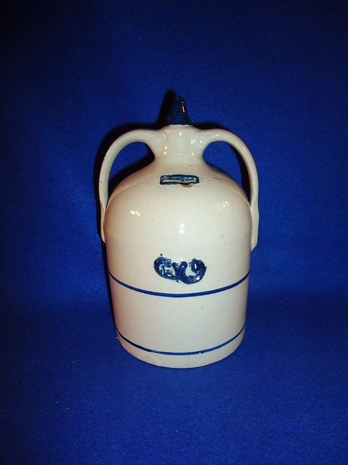 Blue and White Stoneware Double-Handled Jug Bank