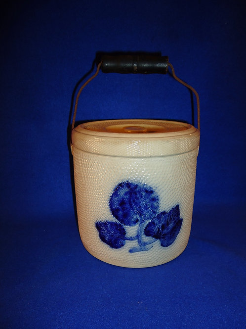 Whites of Utica Stoneware Canister Flowers and Original Bail Handle