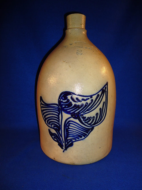 N. A. White, Utica, New York Stoneware 2 Gallon Jug with Huge Orchid