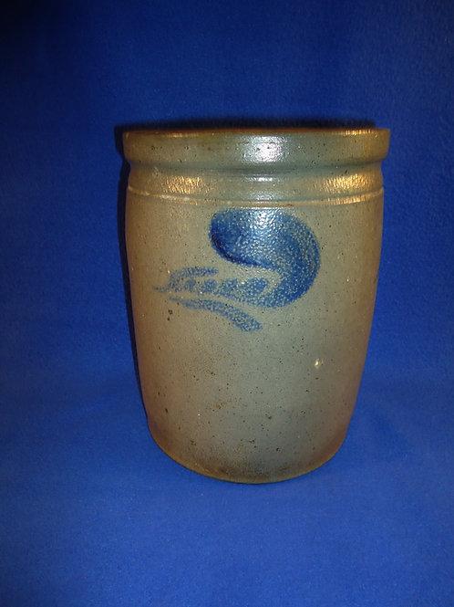 Circa 1880 Stoneware 1 Gallon Jar with Leaves from Strasburg, Virginia