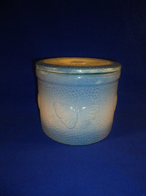 Blue and White Stoneware Butter Crock with Lid in the Butterfly Pattern