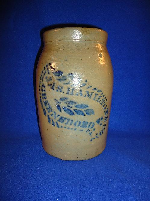 James Hamilton, Greensboro, Pennsylvania Stoneware 1 Gal. Jar with Tobacco Leaf