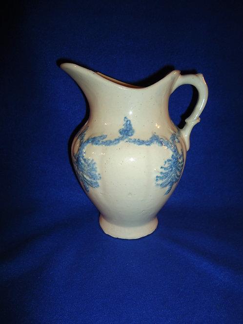 Blue and White Drape and Tassel Spongeware Stoneware Hot Water Pitcher #4493