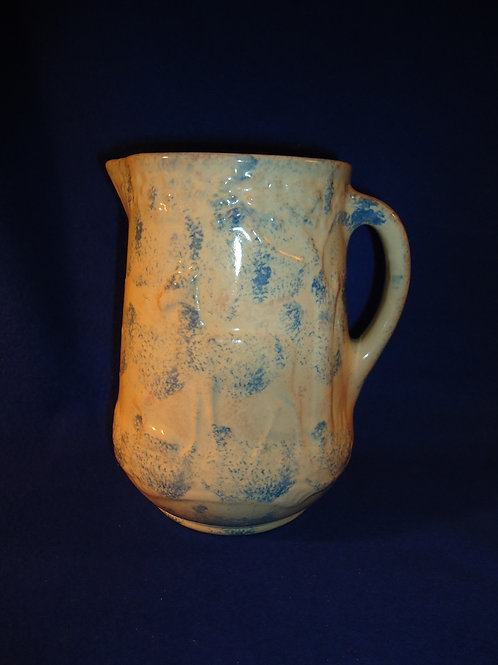Rare Blue and White Doe and Fawn Stoneware Pitcher in Spongeware
