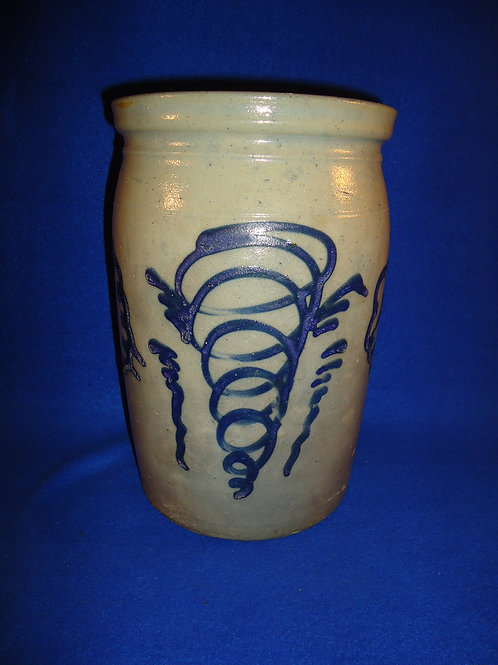 Circa 1870 Gallon Stoneware Jar with Tornados and Clouds #5136
