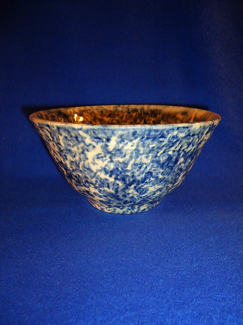 Blue and White Spongeware Stoneware Heart Panel Bowl