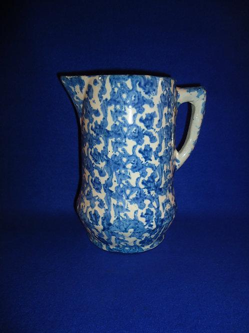 Blue and White Spongeware Stoneware Pitcher, Diamond Base #5848