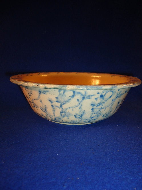 "Blue and White Spongeware Stoneware Bowl- 8"""