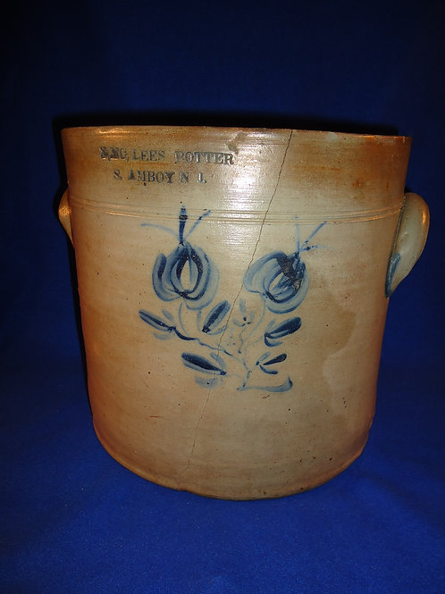 Rare Lees, Potter, South Amboy, New Jersey Stoneware 3 Gallon Crock