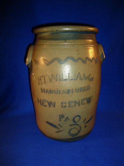R. T. Williams, New Geneva, Pennsylvania Stoneware 3 Gallon Blue Decorated Jar