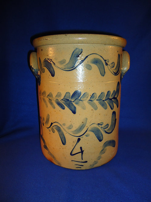 Circa 1865 4 Gallon Stoneware Crock with Freehand Vining from SW Pennsylvania