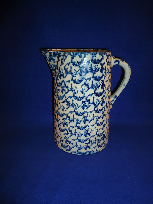 Blue and White Spongeware Stoneware Pitcher, Careful Pattern #5045