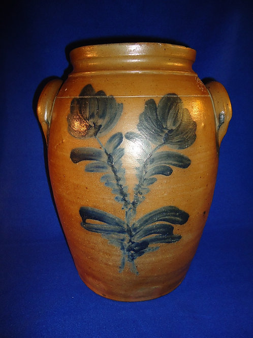 Circa 1860 4 Gallon Stoneware Decorated Jar from Baltimore, Maryland