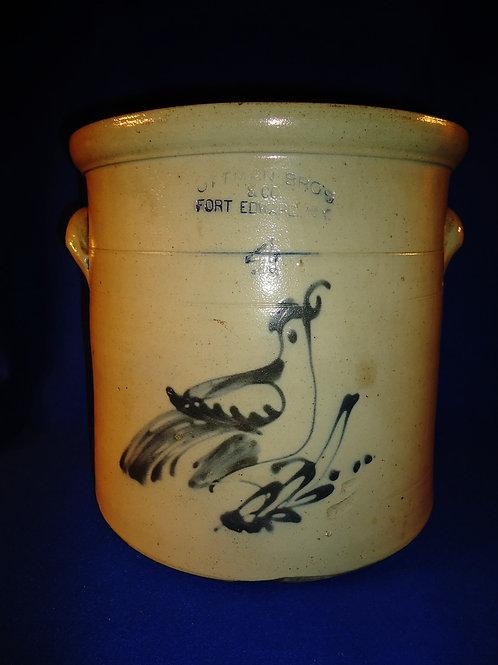 Ottman Bros., Fort Edward, New York Stoneware 4 Gallon Crock with Bird on Branch