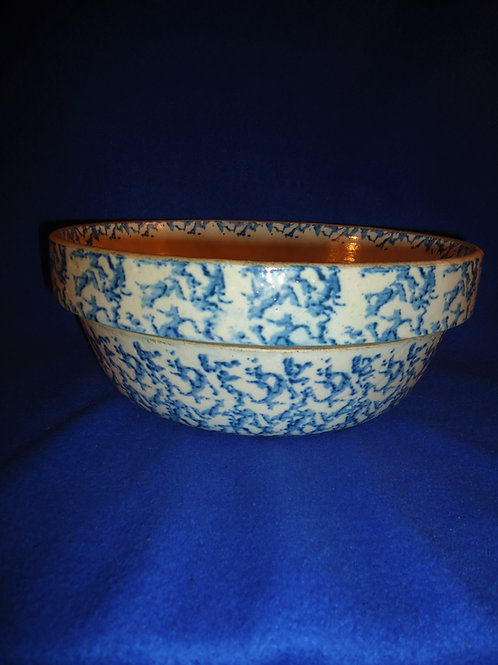 "10 3/4"" Blue and White Spongeware Stoneware Bowl  #4509"