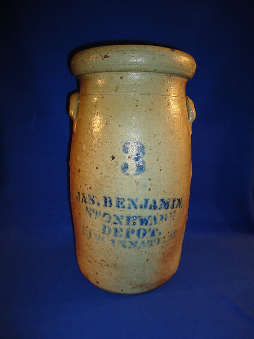 James Benjamin, Stoneware Depot, Cincinnati, Ohio 3 Gallon Churn