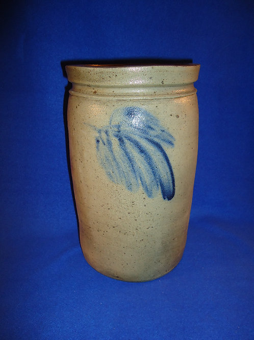 Circa 1870 Stoneware 1 1/2 Gallon Jar with Large Leaf from Baltimore, Maryland