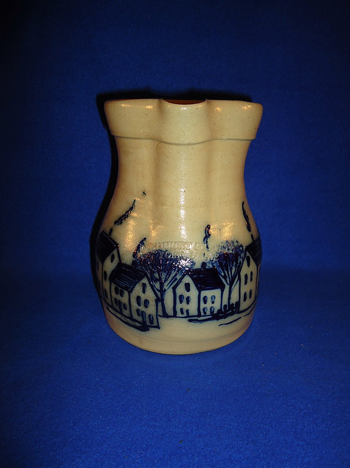 Beaumont Pottery, York, Maine Stoneware Pitcher with Village Scene #5070