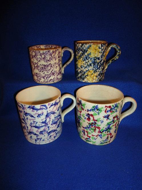 4 Spongeware Staffordshire Mugs for 1 Money #5009